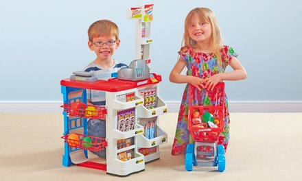 Kids' Supermarket and Shopping Trolley Toy Set