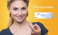 Un bon d'achat de 30 € pour 15 € à utiliser pour des lentilles de contact sur le site easylunettes
