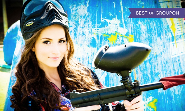 Paintball International - Multiple Locations: All-Day Paintball Package with Equipment Rental for 4, 6, or 12 from Paintball International (Up to 84% Off)