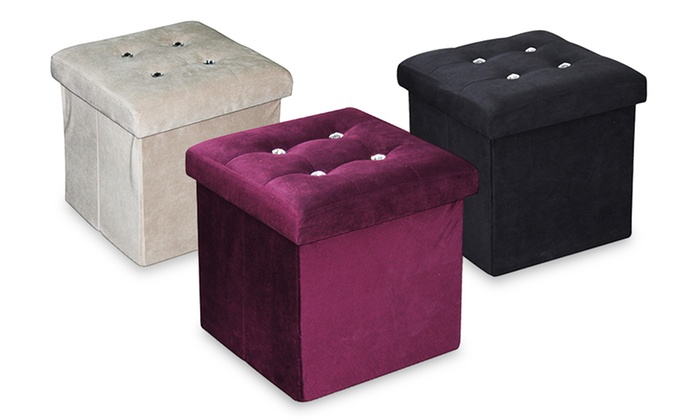 Home Basics Storage Ottoman with Crystal Buttons