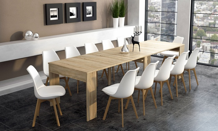 Up to 48 off extending 3m dining console table groupon for Table extensible 3m