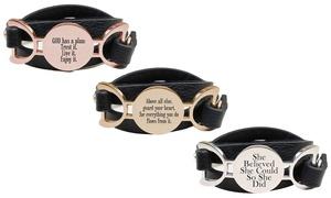 Pink Box Genuine Leather Multi Wrap Inspirational Bracelet