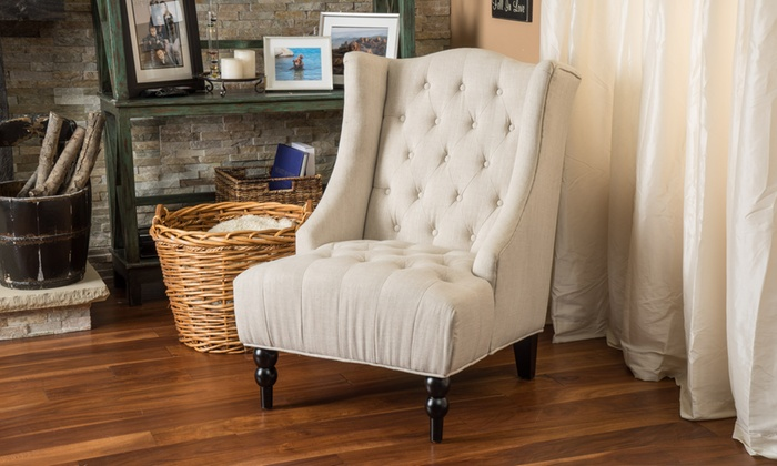 Clarice Tall Wingback Tufted Fabric Accent Chair ...