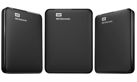 Western Digital Elements 750GB, 1TB, 1.5TB, or 2TB USB 3.0 Portable External Hard Drive (Manufacturer Refurbished)