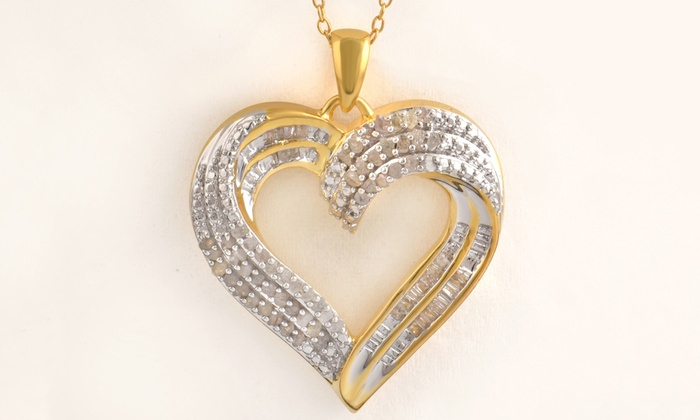 24614374e7b 1 2 CTTW Diamond Heart Pendant in Sterling Silver by Brilliant Diamond
