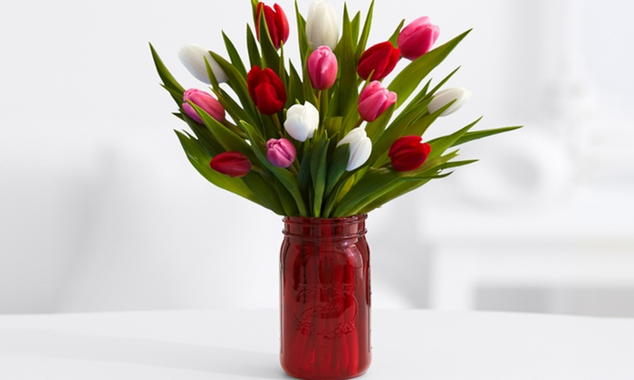 ProFlowers: Sweetheart Tulips with Red Mason Jar from ProFlowers (52% Off). Shipping Not Included.