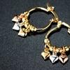 Three Tone Gold Plated Heart Hoop Earrings