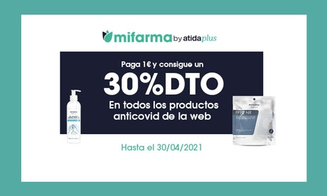 Paga 1 € y obtén un 30% de descuento en productos de la web Mifarma.es