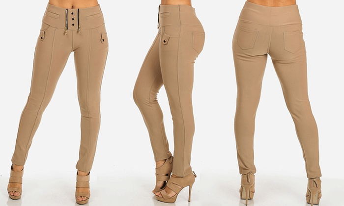 Juniors' Stretchy High-Waist Skinny Pants (Size S/M)