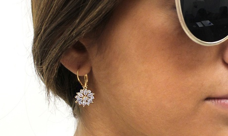 Crystal Starburst Leverback Earrings in 14K White, Yellow, or Rose Gold Plating