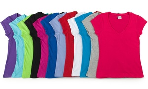 12-Pack of Women's V-neck T-shirts