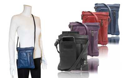 46a7371a809 Shop Groupon On-The-Go Soft Leather Crossbody Purse with RFID Blocking  Option