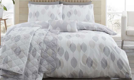 200TC Etched Leaves Soft Touch Duvet Set