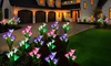 Four-Pack of Lily Flower Outdoor Solar Garden Lights