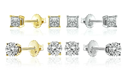 1 CTTW Diamond Stud Earrings in 14K Gold by Brilliant Essence Classic Collection