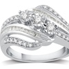 1/4 CTTW Diamond Three-Stone Ring in Sterling Silver by DeCarat