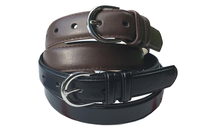 Unisex Black and Brown Dress Leather Belts (2-Pack)