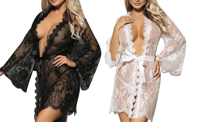 cb609342a76 Up To 38% Off on Women s Scallop Lace Robe