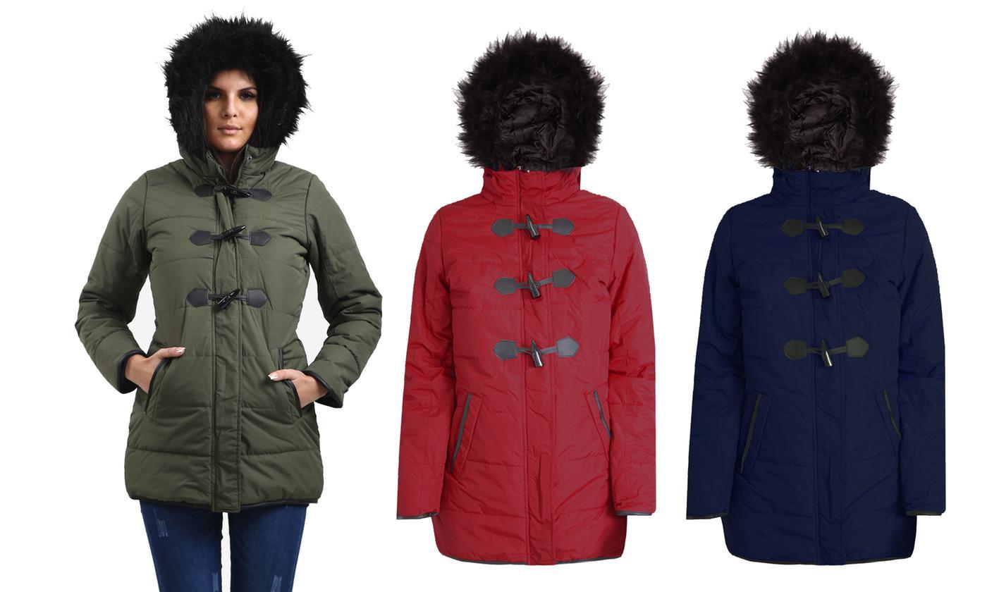 Oops Women's Hooded Parka Coat with Front Zip