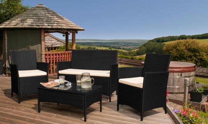 Groupon Goods Global GmbH  Roma PE Rattan Garden Furniture Set in Black for   129 98. Rattan Garden Furniture Set   Groupon