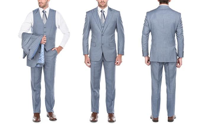 Verno Men's Classic-Fit Wide-Stripe Peak-Lapel Suits (3-Piece)