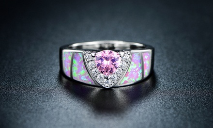 Trillion-Cut Shimmery Pink Opal Engagement Ring by Peermont