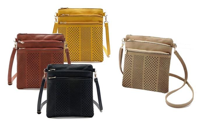 One, Two or Three Women's Three-Zip Cross-Body Handbags for £6.98