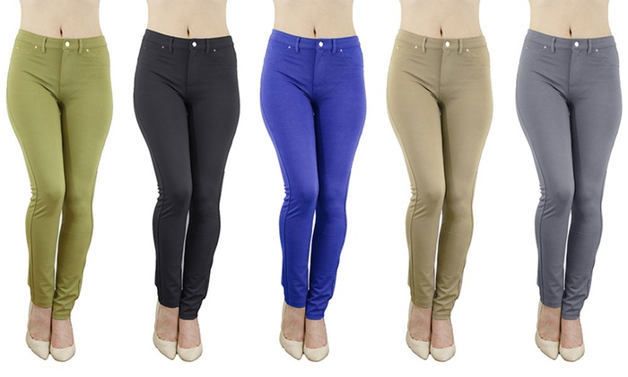 Women's Ponte Solid Color Stretch Leggings (3-Pack)