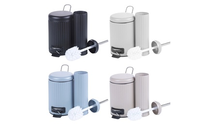 Retro-Style Pedal Bin and Toilet Brush in Choice of Colour