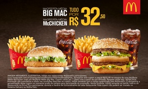 McDonald's: McDonald's: McOferta McChicken+McOferta Big Mac resgate grátis o groupon e pague R$32,50 nos restaurantes participantes
