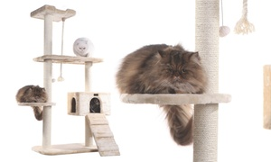 Faux-Fur-Covered Cat Tree with Scratch Posts