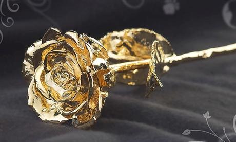 Rosa real de 28 cm cubierta en plata bañada en oro