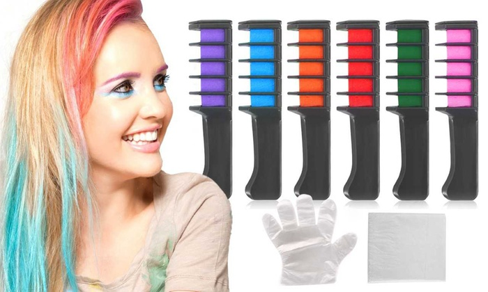 Temporary Hair Color Comb Party Chalk (6- or 12-Pack) | Groupon