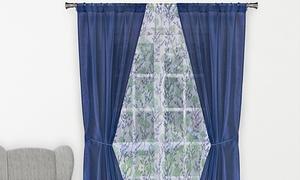 "Semi-Opague 38""x84"" Rod Pocket Window Curtain Set (5-Piece)"