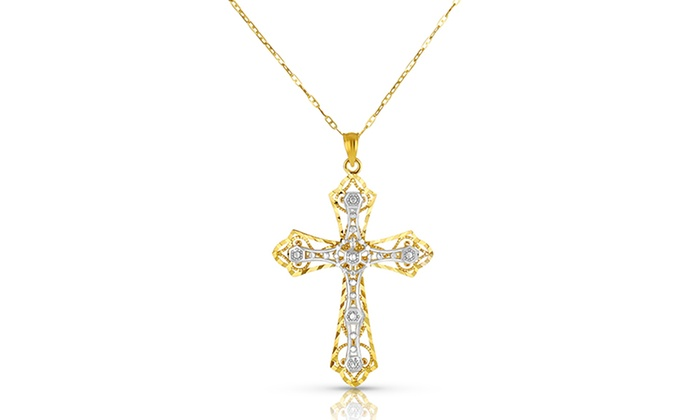 Cross pendant in 10k gold groupon goods two tone filigree cross pendant in 10k gold aloadofball Image collections