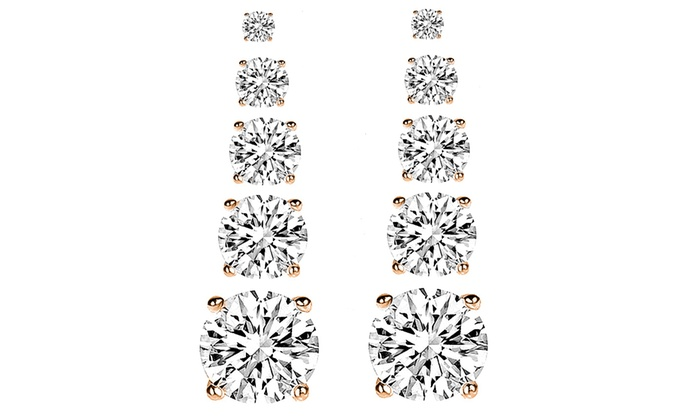 9.00 CTW Stud Earrings Made With Swarovski Crystals (5 Pairs)