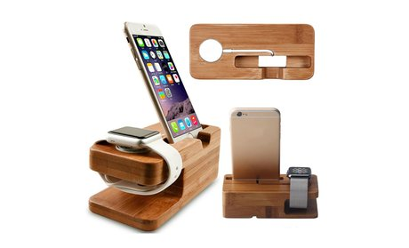 Trend Matters Bamboo Dual Dock for iPhones and Apple Watches