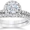 1.10 CTTW Pavé Diamond Halo Engagement Ring in 14K White Gold
