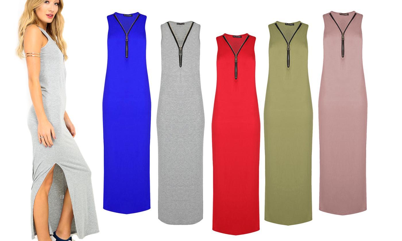 Oops Women's Sleeveless Zip-Up Bodycon Maxi Dress