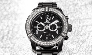 Joshua & Sons Men's Multifunction Watch with Crystal-Adorned Bezel
