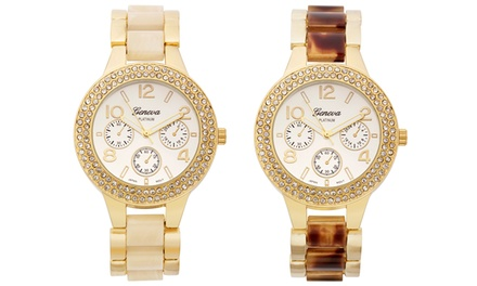 Geneva Platinum Lucent Ladies' Watch with Swarovski Elements