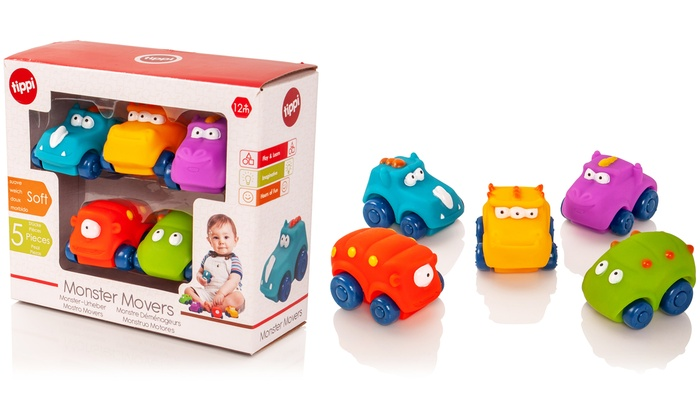 Five Tippi Monster Movers Soft Play Cars