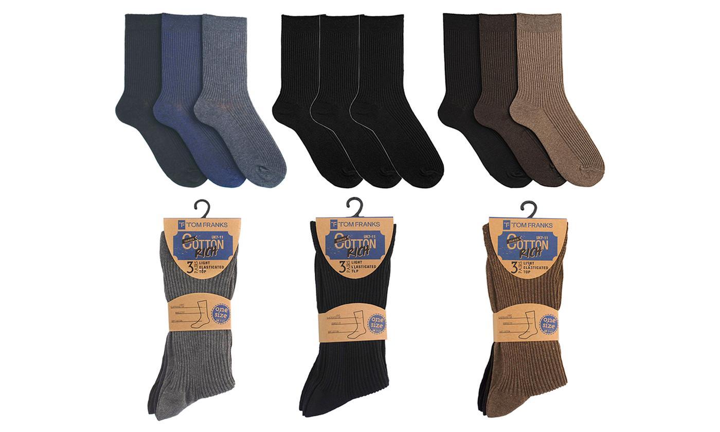 Pack of Three, Six or Nine Pairs of Men's Diabetic Socks