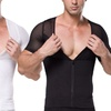 Extreme Fit Men's Mesh Panel Front-Zip Slimming Shirt