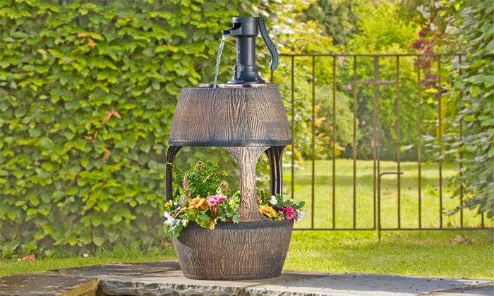Barrel Water Fountain Planter Groupon