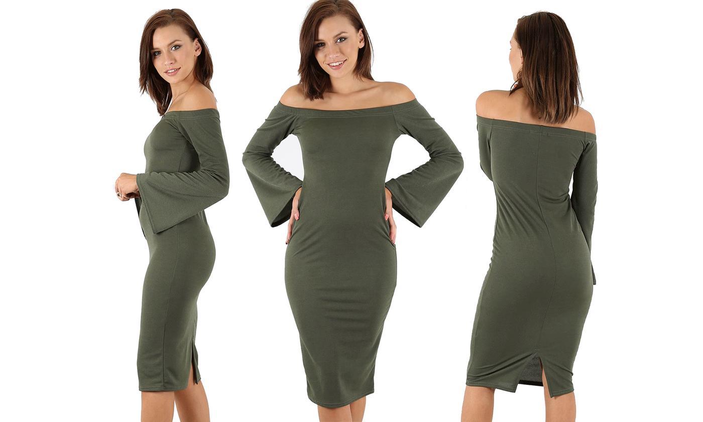 Oops Off-Shoulder Plain Bodycon Midi Dress