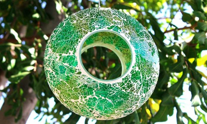 Mosaic Circular Stained Glass Bird Feeder Groupon