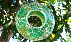Mosaic Circular Stained Glass Bird Feeder