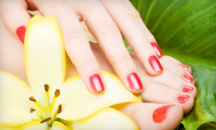 a.Go.Go the Salon - Glenview: Two Shellac Manicures and One Regular Pedicure, or Two Regular Mani-Pedis at a.Go.Go the Salon (51% Off)