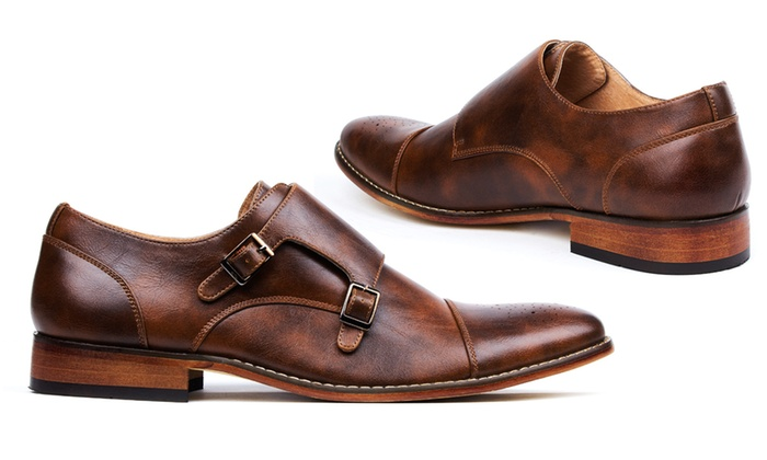 Gino Vitale Men S Cap Toe Dress Shoes With Double Monk Strap